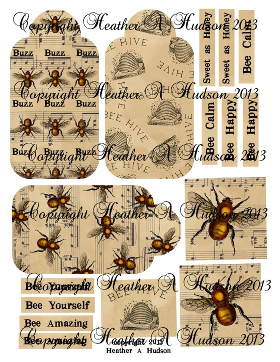 Vintage Bumble Bee Calm Digital Collage sheet