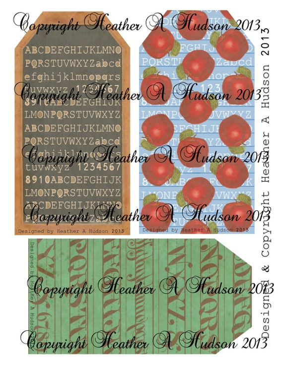 Vintage Back to School Tags Blackboard, Apples, Cursive Digital Collage sheet