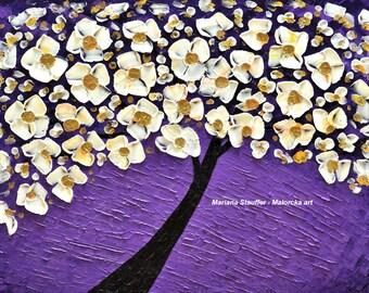 "tree paintings impasto original landscape textured oil acrylic mixed media purple M.Stauffer Malorcka 24x36"" fantasy Abstract blossom"