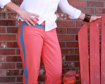 Crop Pants. Fashionista Crop. Two tone. Coral blue. Large