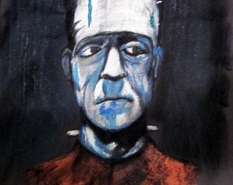 Frankenstein Handpainted Charcoal Woman's Small Size Tshirt
