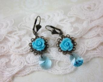 Petite Pastel Blue Rose Earrings. Wedding. Bridal Jewelry. Birthday gift.