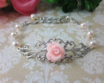 Petite Pink Rose with cream swarovski pearls Bracelets.  Silver Tone. Bridal Jewelry. Bridesmaid Gifts.
