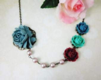 Roses Necklace. Gift for her. Anniversary, Birthday, Christmas, Maid of Honor.