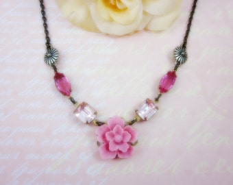 Pink Sakura with pink glass jewels Necklace. Gift for her. Anniversary, Bridesmaid, Christmas, Maid of Honor.