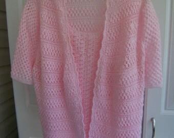 pink crochet  top short sleeves  cardigan sweater