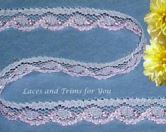 Pink Lace Trim 10/20 Yards Scroll 1/2 inch wide Lot M63 Added Items Ship No Charge