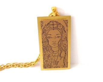 Virgo the Virgin Necklace Zodiac Jewelry Rubber Stamped Leather Metal Base
