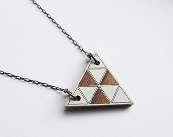 Geometric Necklace, Wood, Laser Etched, Color Corners 2