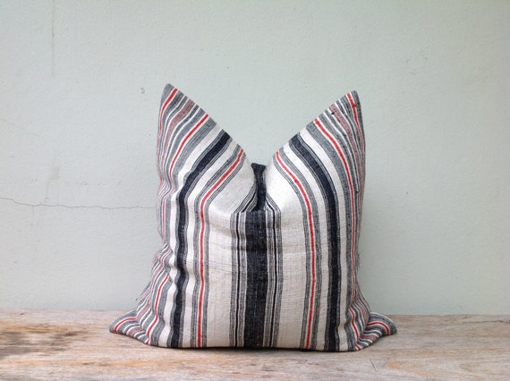 "Navy Stripe Pillow Case Nature Hemp Hand Woven  A Piece Of Vintage Tribal Textile 20"" x 20"" Front And Reverse Same Fabric"