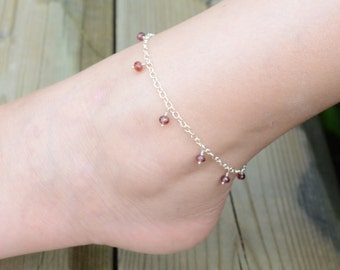 Genuine Garnet Anklet Red Gemstone Wire Wrapped Sterling Silver Children Child Jewelry