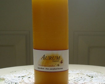 "Natural Handmade 100% Beeswax Candle - 4.25"" pillar"