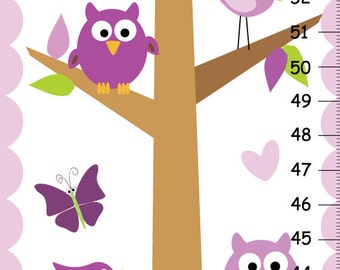 kids growth chart, Purple Owls Canvas GROWTH CHART Girls Bedroom Baby Nursery Wall Art