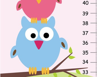 Stacked Owls Canvas GROWTH CHART Girls Kids Bedroom Baby Nursery Wall Art