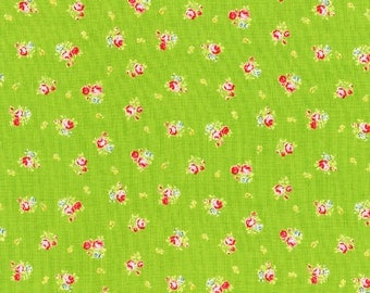 Flower Sugar - Petite Roses in Green from Lecien Fabrics