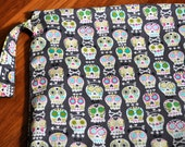 cloth diaper bag, pul lined wetbag, handmade, custom made, 14 by 16 inches