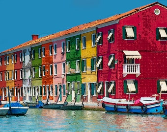 Burano, Italy, Colorful, Houses, Watercolor, Prints (6 Sizes)