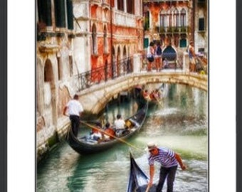 Tourists in Venice, Italy, Framed, Double Matted, 23x27, 27x37