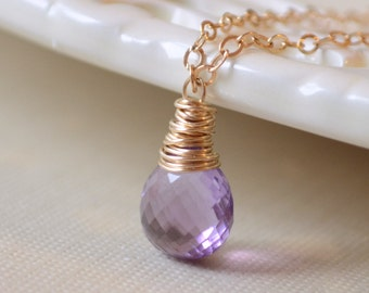 Amethyst Necklace, Purple AAA Semiprecious Gemstone Solitaire, February Birthstone, Wire Wrapped Gold Jewelry, Free Shipping