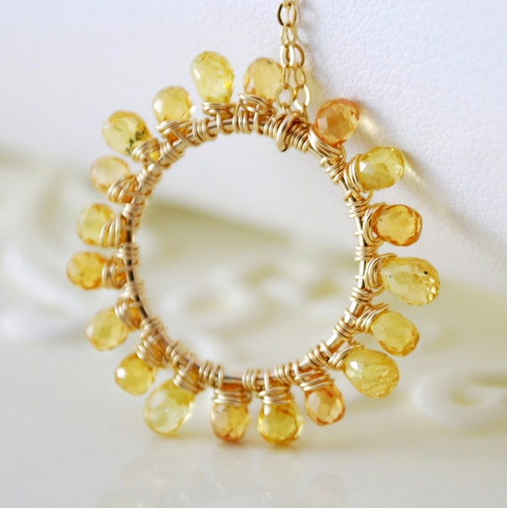 Genuine Sapphire Necklace Gold Jewelry Bright Yellow Orange Gemstone Wire Wrapped Sun Complimentary Shipping