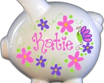 Personalized Piggy Bank with Flowers and Butterflies Hot Design | White | Hot Pink and Purple | Large | Baby Gift | Free Shipping
