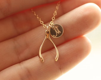 Personalized Wishbone Necklace, Initial Necklace, Sterling Silver Wishbone Necklace, Wishbone Charm, Initial Charm, Graduation Gift for Her
