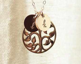 Gold Tree of Life Necklace, Personalized Mother's Necklace, Initial Necklace, Grandmom's Necklace, Family Tree Necklace, Sterling Silver
