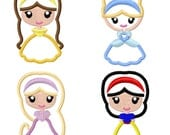 "Princess  Satin Stitchie Set - Belle Cinderella Rapunzel Snow White Applique Embroidery Designs 2.5"" Hair Clippie Clip INSTANT DOWNLOAD"