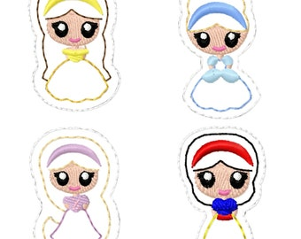 "Princess Bean Stitch Stitchie Set - Belle, Cinderella, Rapunzel, Snow White- 1.5"" 1.75"" 2"" Hair Clippie Clip INSTANT DOWNLOAD"