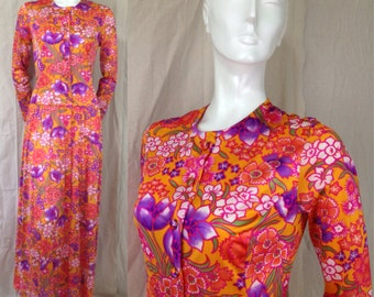 Vintage 1960s Vanity Fair Robe Negligee Nightgown Hostess Dress Psychedelic Floral Maxi Dress