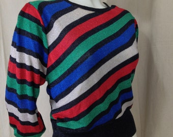 Vintage 1980s striped sweater Puff Sleeves Metallic Diagonal Joyce Green Red Glam Christmas Blue Black Red punk retro