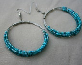Large beaded hoop earrings - Free shipping