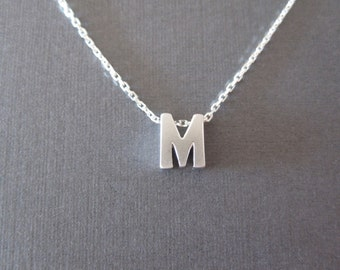 Silver Block Letter Initial Necklace