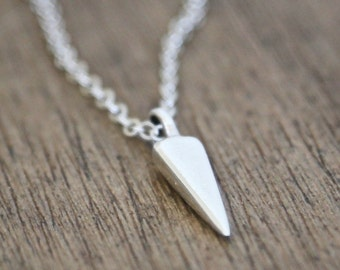 Sterling Spike Dagger Necklace - modern simple everyday delicate jewelry
