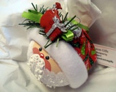 Santa Christmas Ornament Tree Bulb Hand Painted Glass Red Present &  Bag of Toys, Red Tree Hat