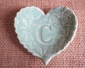 Monogram heart dish, mint green ring dish, ring holder, bridal shower gift
