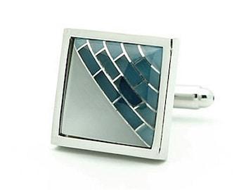 Blue and White Stone Cufflinks