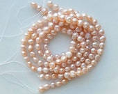 6-7mm Creamy peach  side drilled potato freshwater pearls