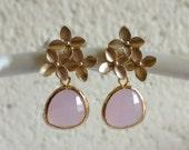 Light Pink Bridesmaid Gift, Wedding, Jewelry, Bridal Earrings, gold Cherry Blossom Earrings, Birthday Gift, Christmas Gift, Romantic, Moder
