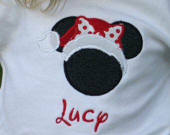 Mickey Minnie mouse with santa hat Christmas top girls sizes 18m - 8 girls.  Personalized