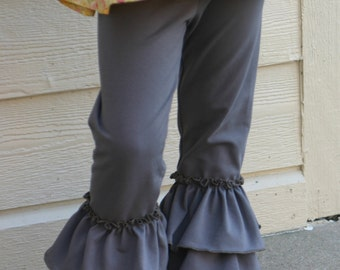 taupe gray brown double ruffle knit leggings sizes 12m - 14 girls