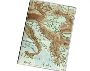 PASSPORT COVER - Mediterranean Map in Blues and Browns