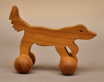 Wooden Dog on Wheels, Waldorf Domestic Toy, Animal Pets Retriever Kids Party Favor for Birthdays Wood Toy Wheeled Animal Boys Girls Children
