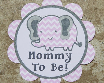 Elephant themed button pin mother and grandma- baby green and baby pink chevron