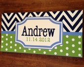 large personalized nursery art- hand painted- green navy blue chevron