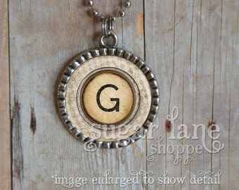 Monogram Initial Bezel Necklace (Antique Typewriter Keys) - Chain Included