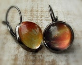 SALE. Space dangle earrings. Picture cabs. Gunmetal Handmade leverback earrings. Outer space. Planet jewelry