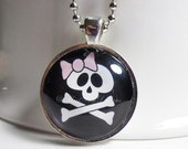 Skull and Crossbones Necklace with 24 inch chain included, Halloween Pendant, Goth Jewelry