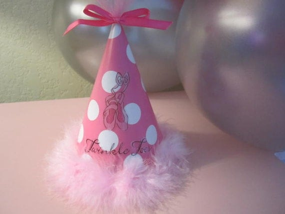 Set Of 8 BALLERINA PARTY HATS Decorated In A Pink By