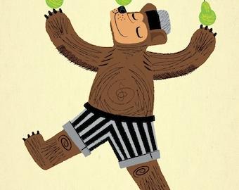 A Bear With Pears - Animal illustration - Limited Edition Print - iOTA iLLUSTRATION